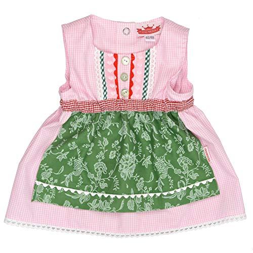 rachtenkleid Dirndl Baby Tracht mit angenähter Schürze rosa/grün in Größe 110/116 ()