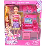 Beauty Charm Teacher With Small Computer Set Barbie Doll And Playset Fashions And Accessories I Love My Teacher Beautiful Dress Fashion Clothes For Barbie Doll Play House