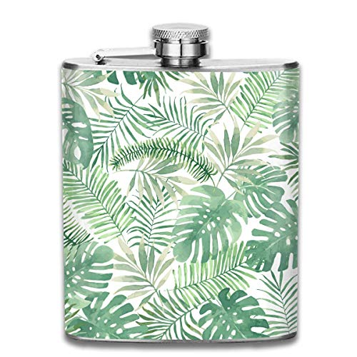 Summer Beach Palms Tree Leaves Retro Portable 304 Stainless Steel Leak-Proof Alcohol Whiskey Liquor Wine 7OZ Pot Hip Flask Travel Camping Flagon for Man Woman Flask Great Little Gift - Flagge Pot Leaf