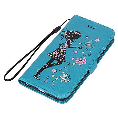 Hülle für iPhone 6S Plus, Tasche für iPhone 6 Plus, Case Cover für iPhone 6 Plus, ISAKEN Blume Schmetterling Muster Folio PU Leder Flip Cover Brieftasche Geldbörse Wallet Case Ledertasche Handyhülle T Mädchen Schmetterlinge Blau