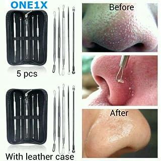 ONE1X Komedonenquetscher / Mitesser-Entferner, Werkzeug zur Pflege der Gesichtshaut, Edelstahl, 5Stück + Etui