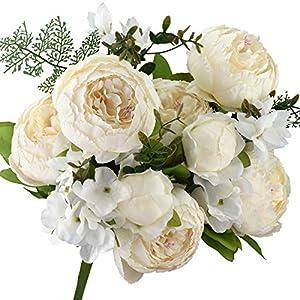 FiveSeasonStuff 1 ramo de flores artificiales de seda y hortensias/perfecto para bodas, novias, fiestas, hogar, oficina…