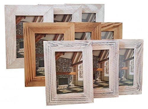 3er SET HENZO Holz Bilderrahmen COTTAGE - 10 x 15 cm - grau, weiß oder braun - Fotorahmen aus Holz & Glas, Farbe:Grau