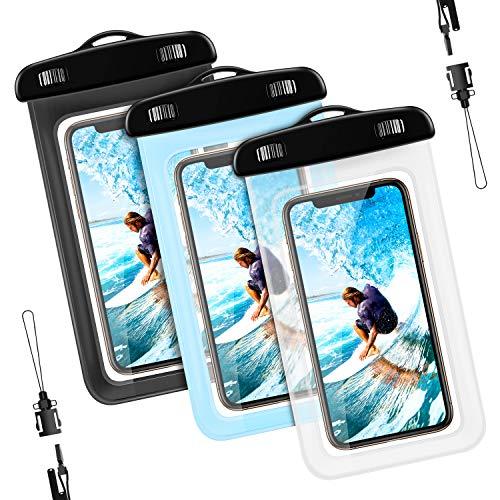 [3 Pezzi] Custodia Impermeabile Smartphone, [IPX8 Certificato] Universale Waterproof Cover Case Impermeabile per iPhone, Samsung, Huawei , Tutti i dispositivi Fino a 6,2 Pollici (Nero+Trasparente+Blu)
