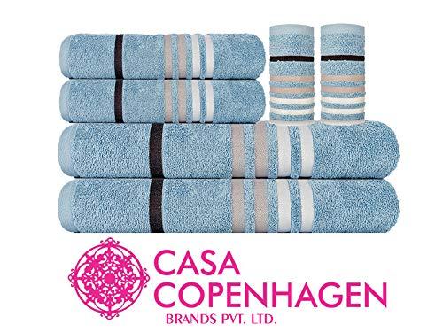Casa Copenhagen Exotic 500 GSM Premium Egyptian Cotton 6 Pcs Towel Set - Plush Blue(1 King Size Bath Towel (75x150cm), 1 Medium Bath Towel (60x120cm), 2 Hand Towels (40x60cm), 2 Face Towels(30x30cm)