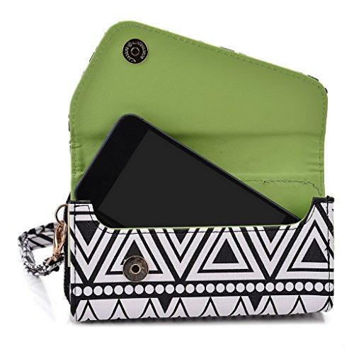 Kroo Pochette/étui style tribal urbain pour Prestigio MultiPhone 5400Duo White and Orange Noir/blanc