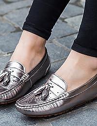 ZQ gyht Zapatos de mujer-Tacón Plano-Punta Redonda-Planos-Exterior / Oficina y Trabajo / Casual / Deporte / Fiesta y Noche / Laboral-Sintético- , silver-us8 / eu39 / uk6 / cn39 , silver-us8 / eu39 / u