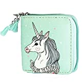 Albeey Unicorn Short Style Wallet with Zip for Student (green)