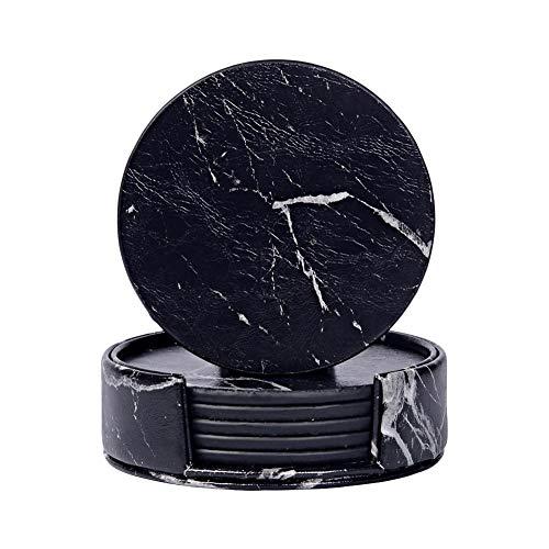Runde Glas-marmor (Dough.Q 6pcs Leder Untersetzer Dekorative Untersetzer Für Glas, Tassen, Vasen, Kerzen Auf Ihrem Esstisch Aus Keramik Und Holz, Glas Oder Stein (rund) Marmor Untersetzer)