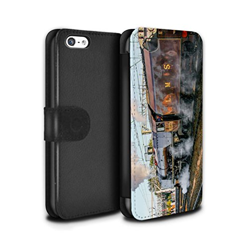 Stuff4 Coque/Etui/Housse Cuir PU Case/Cover pour Apple iPhone 5C / Bittern Design / Locomotive Vapeur Collection Sutherland/Rouge