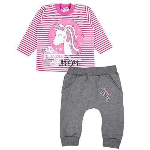 TupTam Baby Mädchen Bekleidungsset Einhorn Aufdruck, Farbe: Streifenmuster Pink, Größe: 80
