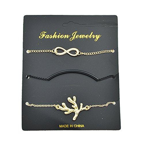 Feelontop® 3 Stück/Set Punk Infinity Loops Symbol Twig Form Curved Charm Kette Armband mit Schmuck Beutel -