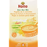 Holle Papilla 3 Cereales (+6 meses) SIN GLUTEN - Paquete de 6 x 250 gr - Total: 1500 gr