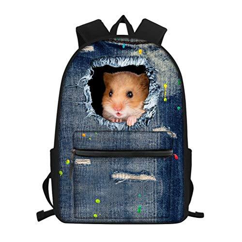 ksäcke für die Mittelschule Elementary Cute Cat Schulranzen Schulrucksack für Kinder Teenager Büchertaschen hellblau Denim Mehrfarbig Denim Hamster Einheitsgröße ()