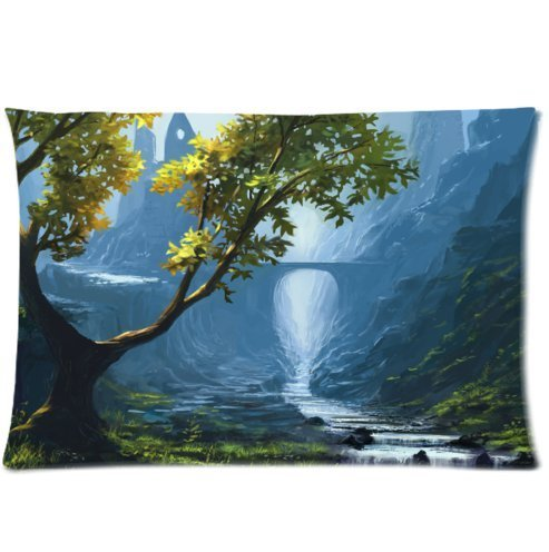 Huirong Pillowcase Design 20 X 30 inch bridge river rocks stream valley mountains grass arch Pillow Protector, Best Pillow Cover,One side printing