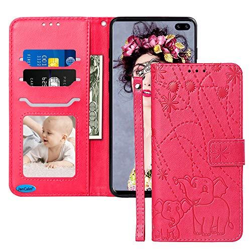 JanCalm Schutzhülle für Galaxy S10 Plus 2019, hochwertiges PU-Leder, Brieftasche [Kartenfächer/Bargeldschlitze] abnehmbare Handgelenkschlaufe, Standfunktion und Magnetverschluss, A Red/Rose Red Unlocked Smartphone