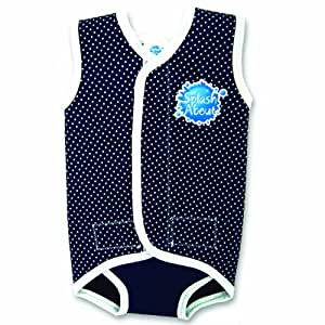 Splash About Baby Wrap - Neoprene Wetsuit - Navy Blue Dotted, Medium, 6-18 Months