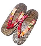 CP [Made in Giappone] Geta Paulownia Wood Sandal Calzature tradizionali crisantemo Design Dimensioni L 26cm (Rosso)