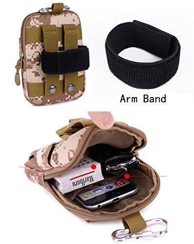 Estwell Molle Taktische Hüfttaschen Wasserdicht Handy Tasche Utility Gadget Gürtel Kompakt EDC Tasche mit Aluminium Karabiner Bräunen