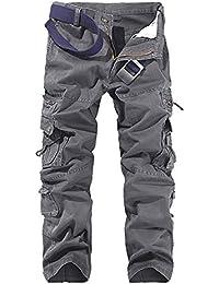 OEAK Pantalon Homme Cargo Vintage Military Casual Pantalon Multi Poches