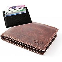 Safekeepers Cartera de Piel - para Hombre - Protección RFID / NFC - Cadena Posibilidad (Marrón con Carte di Credito)