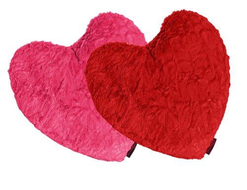 MAGMA Fluffy Hearts Herzkissen ca.40×35 kuschelweicher Plüsch in Felloptik pink