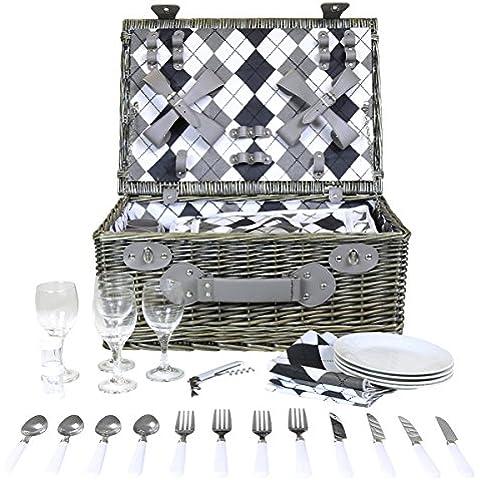 Juego de cesta de mimbre para picnic - Para 4 personas - Forro a cuadros