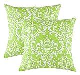 TreeWool Dekorativer Kissenbezug (45 x 45 cm, Grün) Damask Design 100% Baumwolle (2er Pack)