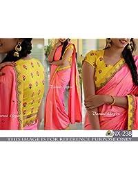 Pramukh Enterprise New Yellow & Pink Fancy Work Designer Saree