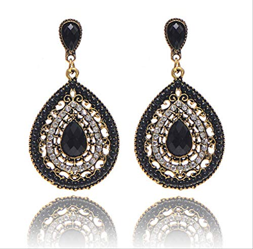 MCKKRSX Earrings Original Single Jewelry Bohemian Full Diamond Drop Beads Earrings Crystal Earrings Jewelry Black