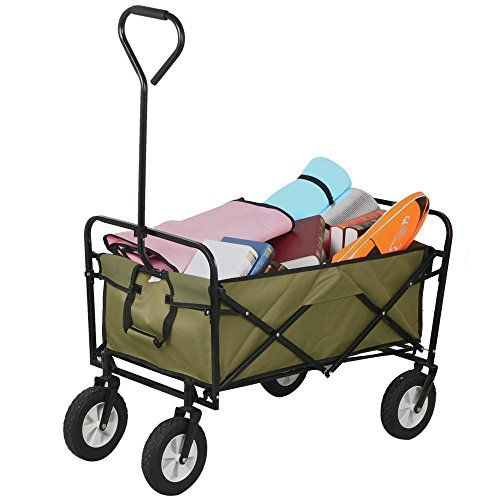 checknow-foldable-pull-along-wagon-garden-trailer-hand-cart-wheelbarrow-transport-trolley-olive