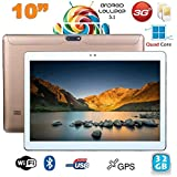 Tablette 10 pouces 3G Android 5.1 Lollipop Dual SIM Quad Core 32Go Or