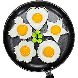 Lanker œUfs Au Plat De Moule à œUfs Frits 5Pcs Ensemble AntiadhéSif pour PoêLe à Frire Moule à CrêPes à œUfs avec PoignéE-œUf sous Forme KT31