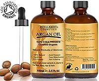 Aceite de Argán 100% prensado en frío puro marroquí Orgánico Certificado Argán 100ml para cabello, uñas, cara, cuerpo, manos y pies, se envía en cristal cuentagotas botellas con pipeta