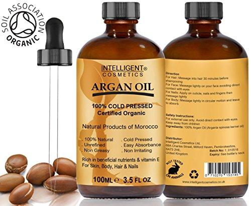 Argan-Öl 100% Kalt Gepresst reine zertifizierte Bio Moroccan Argan 100ml für Haar, Nägel, Gesicht, Körper, Hände und Füße, Lieferung in Glas Dropper Flaschen mit Pipette