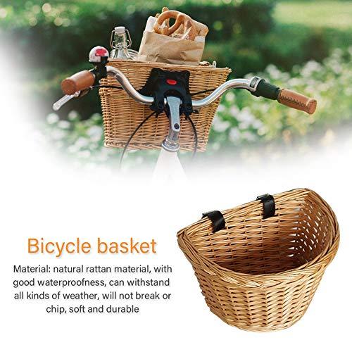 Globents Retro Fahrrad Rattan Korb wasserdicht vorne Korb Lagerung mit festen Riemen weich und langlebig 30 * 20 * 20cm -