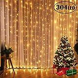Tenda Luminosa 300 LED Catena Luci Interno 3x3metri Luci Stringa Impermeabile Luci LED Natale Esterno con 8 Effetti Luci Decorative per Natale Giardino Matrimoni Feste Compleanno