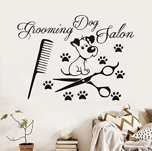 Hund Pfote Schere Kamm Vinyl Wandaufkleber Für Hunde Salon Pet Shop Abnehmbare Wasserdichte Wandkunst Aufkleber Wohnkultur 81x58 cm -