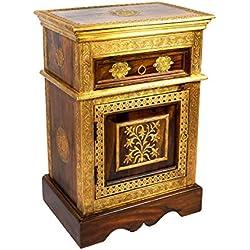 Orientalischer Holz Nachttisch Gowri Dunkel Holz Messing 65cm Hoch | Orient Vintage Nachtkommode orientalisch handverziert | Indischer Nachtschrank auch für Boxspringbett | Asiatische Möbel aus Indien