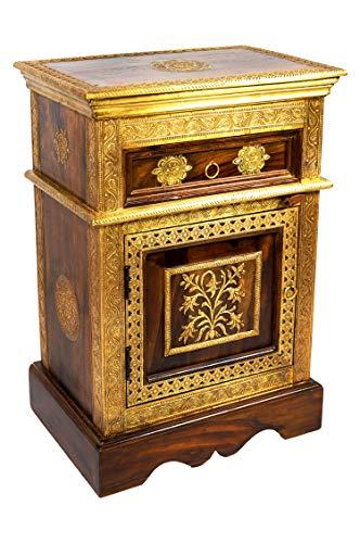 Orientalischer Holz Nachttisch Gowri Dunkel Holz Messing 65cm Hoch | Orient Vintage Nachtkommode...