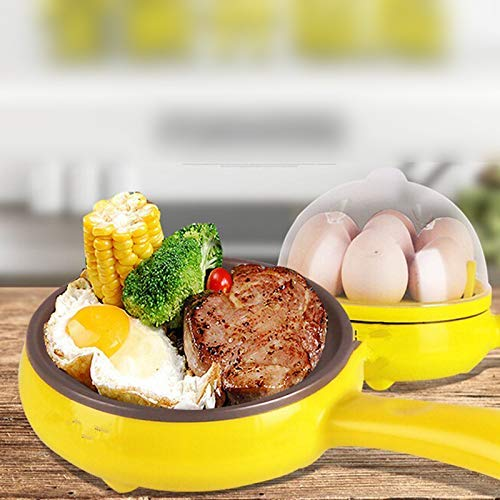 HAPPENWELL Multifunctional 2 in 1 Electric Egg Boiling Steamer Egg Frying Pan with Egg Boiler Machine Non-Stick Electric Egg Frying Pan (Multicolor)