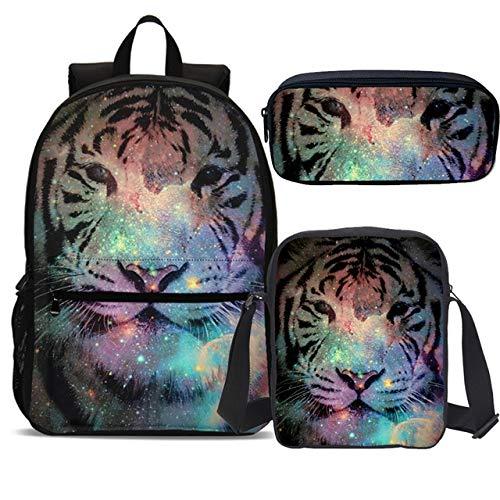 OOGUOSHENG Raffreddare Lion Tiger Stampa Set Borsa Da Viaggio Per Adolescenti Ragazzi 3Pcs Studente Primario Bookbag Bambini Zaini Zaini Scuola Junior -2