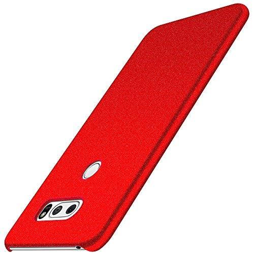 anccer LG V30/LG V30 Plus/LG V30S ThinQ/LG V35/LG V35 ThinQ Hülle, [Serie Matte] Elastische Schockabsorption und Ultra Thin Design für LG V30/LG V30 Plus/LG V30S ThinQ/LG V35/LG V35 ThinQ (Kies Rot)