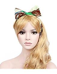 Calonice Écharpe avec Nœud Pour les Cheveux en Orange Bleu Marron et Blanc Écharpe Câblée avec Nœud Pour les en Bandana 14100