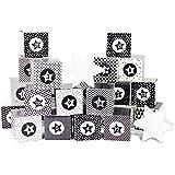 DIY Adventskalender Kisten Set für Erwachsene – 24 schwarz-weiße Kisten zum Aufstellen und selber Befüllen - 24 schwarz weiße Boxen I Schachteln