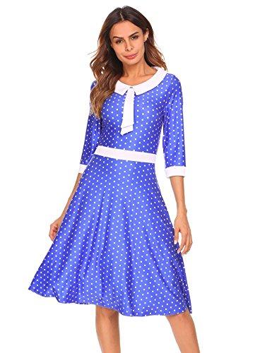 Zeela Damen Herbst Vintage Kleid A-Linie 3/4 Ärmel Patchwork Polka Dots Pinup Retro Faltenkleid Shirtkleid mit Kragen und Fliege (Falten Rock Dots Polka)