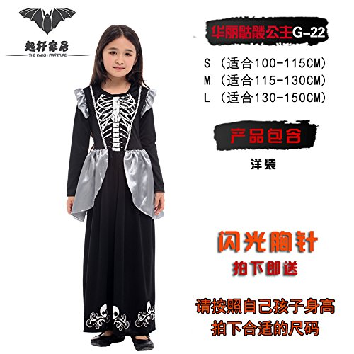 Clothingcosplay Hexe Umhang bat Prinzessin Kürbis fancy dress LongBai's Halloween Kinder Party wird dazu dienen, die herrliche Berg G-22, l Prinzessin Skelett (Prinzessin Skelett)