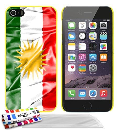 Ultraflache weiche Schutzhülle APPLE IPHONE 5S / IPHONE SE [Flagge Kurdistan] [Schwarz] von MUZZANO + STIFT und MICROFASERTUCH MUZZANO® GRATIS - Das ULTIMATIVE, ELEGANTE UND LANGLEBIGE Schutz-Case für Gelb + 3 Displayschutzfolien