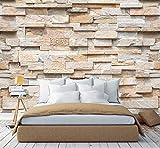 murimage Papier Peint Brique 3D 274 x 254 cm Photo Mural Pierre brun optique brun dessin noble wallpaper colle inclus