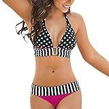 SMILEQ Frauen Bikini Set Bademode Streifen Bandage Push-Up Badeanzug V-Ausschnitt Baden Beachwear, hot pink, xl